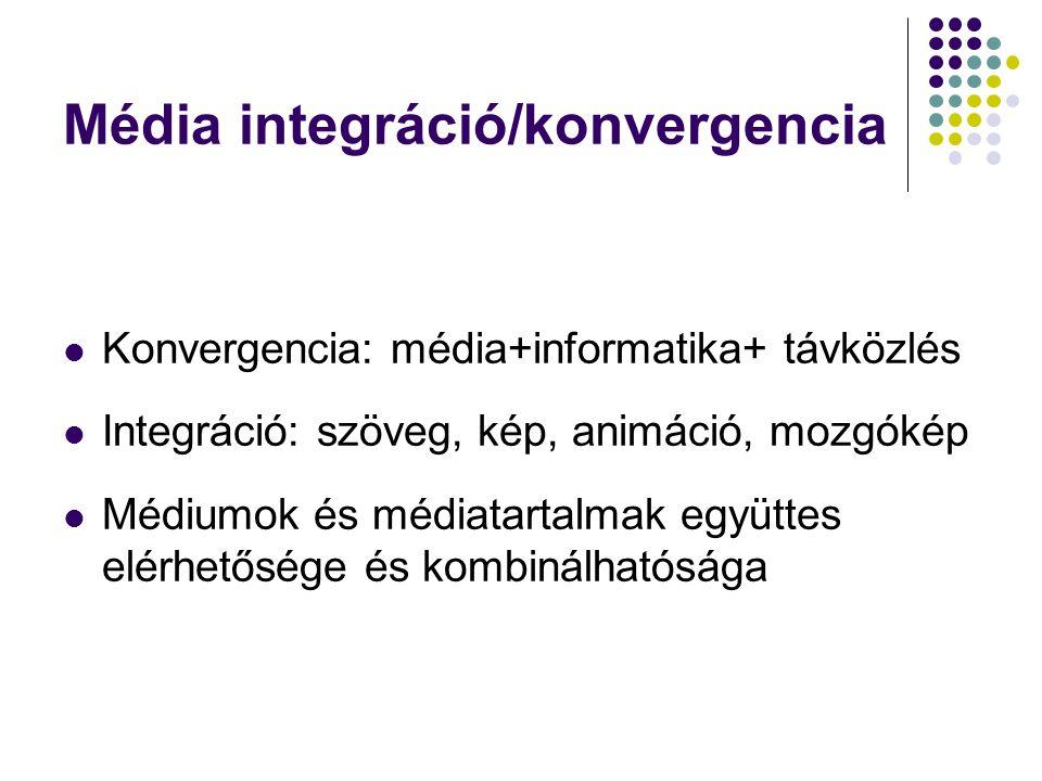 Média integráció/konvergencia Konvergencia: média+informatika+ távközlés Integráció: szöveg, kép, animáció, mozgókép Médiumok és médiatartalmak együtt