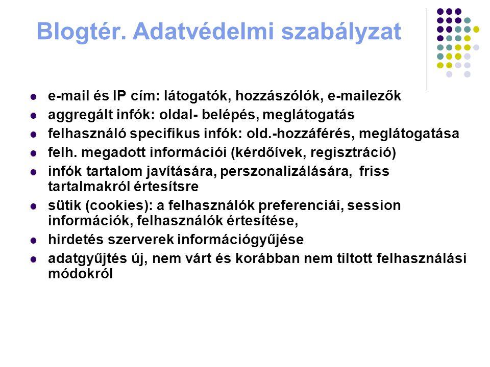 Blogtér. Adatvédelmi szabályzat e-mail és IP cím: látogatók, hozzászólók, e-mailezők aggregált infók: oldal- belépés, meglátogatás felhasználó specifi