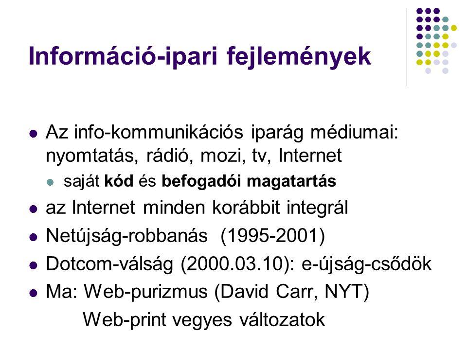Információ-ipari fejlemények Az info-kommunikációs iparág médiumai: nyomtatás, rádió, mozi, tv, Internet saját kód és befogadói magatartás az Internet