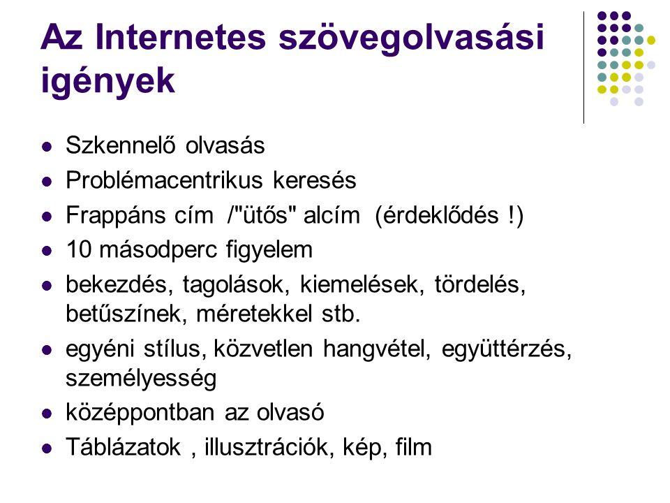 Az Internetes szövegolvasási igények Szkennelő olvasás Problémacentrikus keresés Frappáns cím /