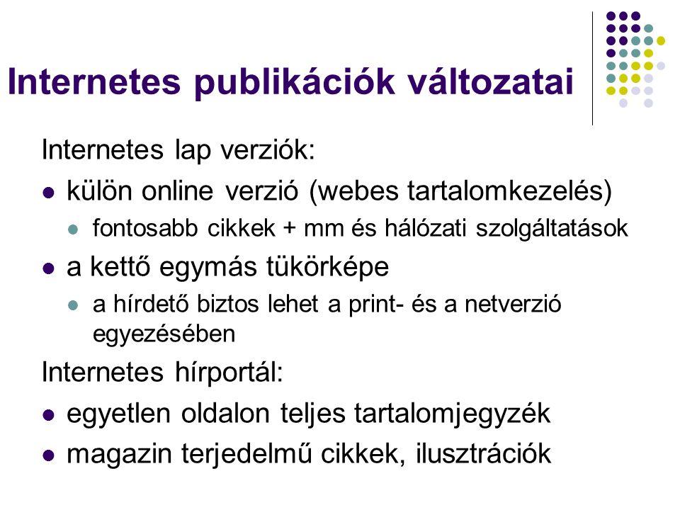 Internetes publikációk változatai Internetes lap verziók: külön online verzió (webes tartalomkezelés) fontosabb cikkek + mm és hálózati szolgáltatások