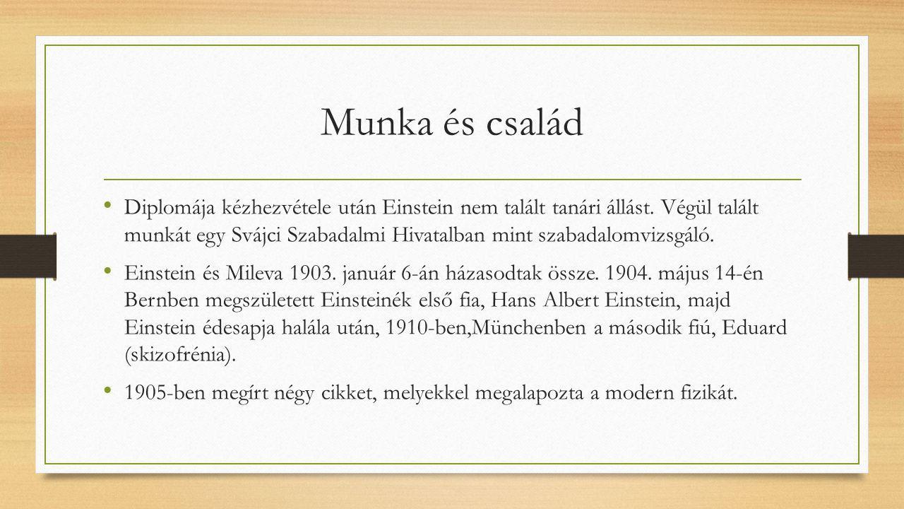 Munka és család Diplomája kézhezvétele után Einstein nem talált tanári állást. Végül talált munkát egy Svájci Szabadalmi Hivatalban mint szabadalomviz
