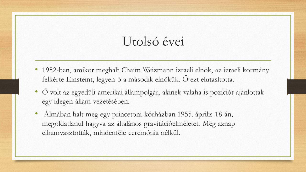 Utolsó évei 1952-ben, amikor meghalt Chaim Weizmann izraeli elnök, az izraeli kormány felkérte Einsteint, legyen ő a második elnökük. Ő ezt elutasítot