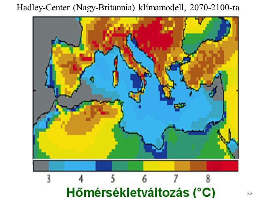 21 Tél (DJF)Tavasz (MAM) Ősz (SON)Nyár (JJA) Csapadékváltozás (%)