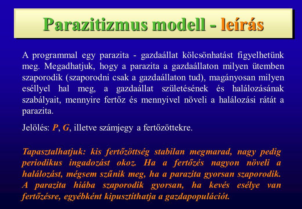 Parazitizmus modell - leírás A programmal egy parazita - gazdaállat kölcsönhatást figyelhetünk meg. Megadhatjuk, hogy a parazita a gazdaállaton milyen