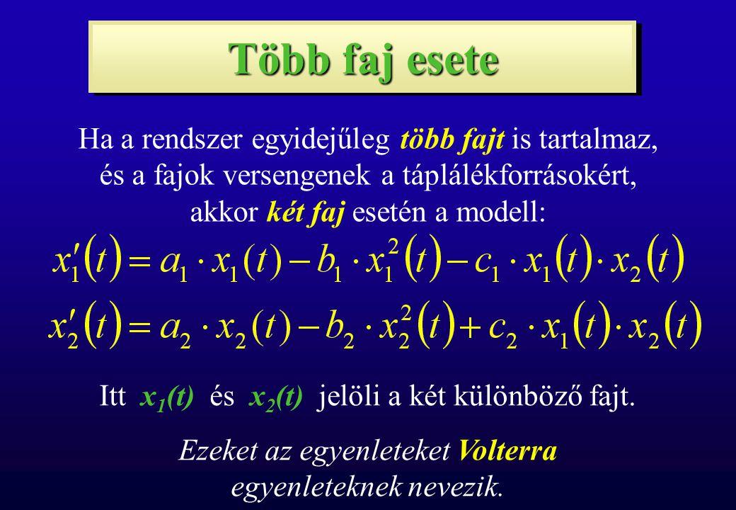 """Több faj esete Ha az egyik faj a másikból él, akkor két faj esetén a modell: Ebben az esetben az x 1 faj x 2 jelenléte nélkül exponenciálisan elszaporodna, x 2 pedig x 1 jelenléte nélkül kihalna, az x 2 tehát """"megeszi x 1 -et, x 1 szolgál táplálékul x 2 -nek."""