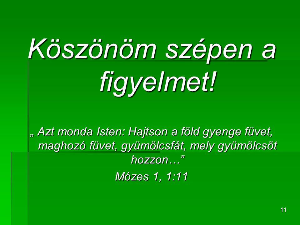 """11 Köszönöm szépen a figyelmet! """" Azt monda Isten: Hajtson a föld gyenge füvet, maghozó füvet, gyümölcsfát, mely gyümölcsöt hozzon…"""" Mózes 1, 1:11"""