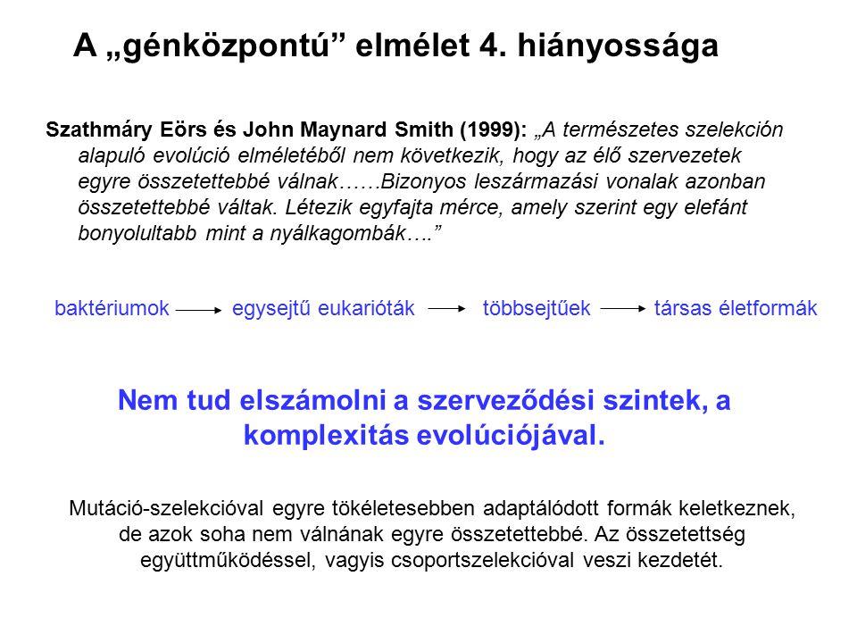 """Szathmáry Eörs és John Maynard Smith (1999): """"A természetes szelekción alapuló evolúció elméletéből nem következik, hogy az élő szervezetek egyre össz"""