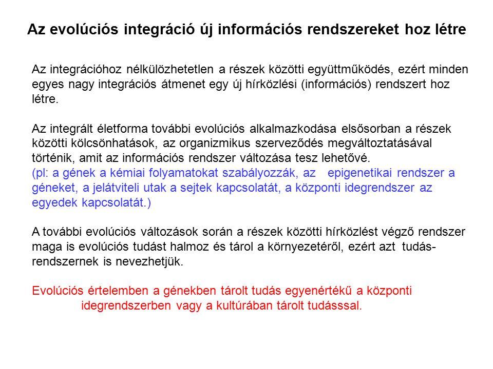 Az integrációhoz nélkülözhetetlen a részek közötti együttműködés, ezért minden egyes nagy integrációs átmenet egy új hírközlési (információs) rendszer