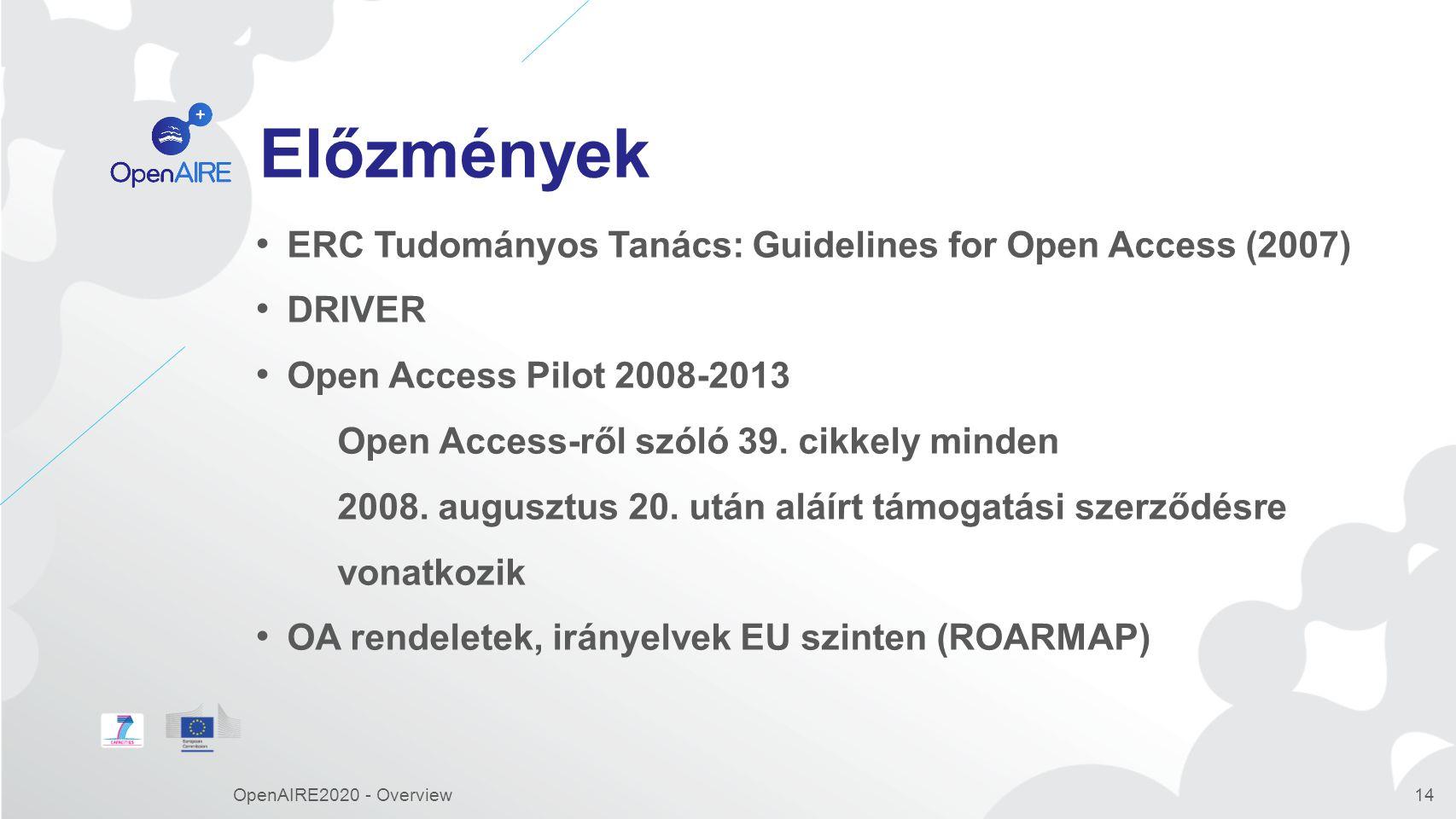 Előzmények ERC Tudományos Tanács: Guidelines for Open Access (2007) DRIVER Open Access Pilot 2008-2013 Open Access-ről szóló 39.