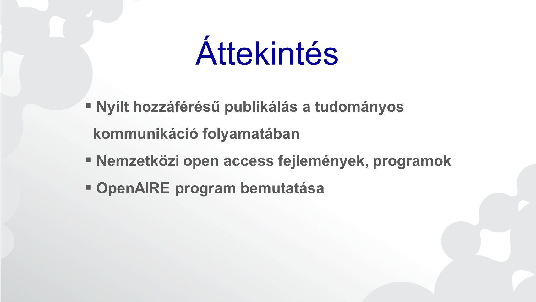 Áttekintés  Nyílt hozzáférésű publikálás a tudományos kommunikáció folyamatában  Nemzetközi open access fejlemények, programok  OpenAIRE program bemutatása