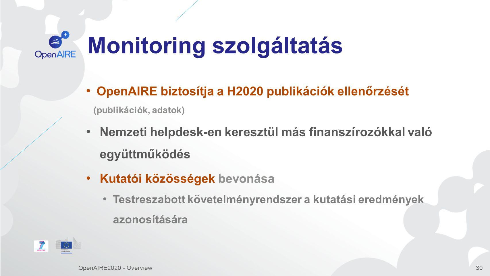 Monitoring szolgáltatás OpenAIRE biztosítja a H2020 publikációk ellenőrzését (publikációk, adatok) Nemzeti helpdesk-en keresztül más finanszírozókkal való együttműködés Kutatói közösségek bevonása Testreszabott követelményrendszer a kutatási eredmények azonosítására OpenAIRE2020 - Overview30