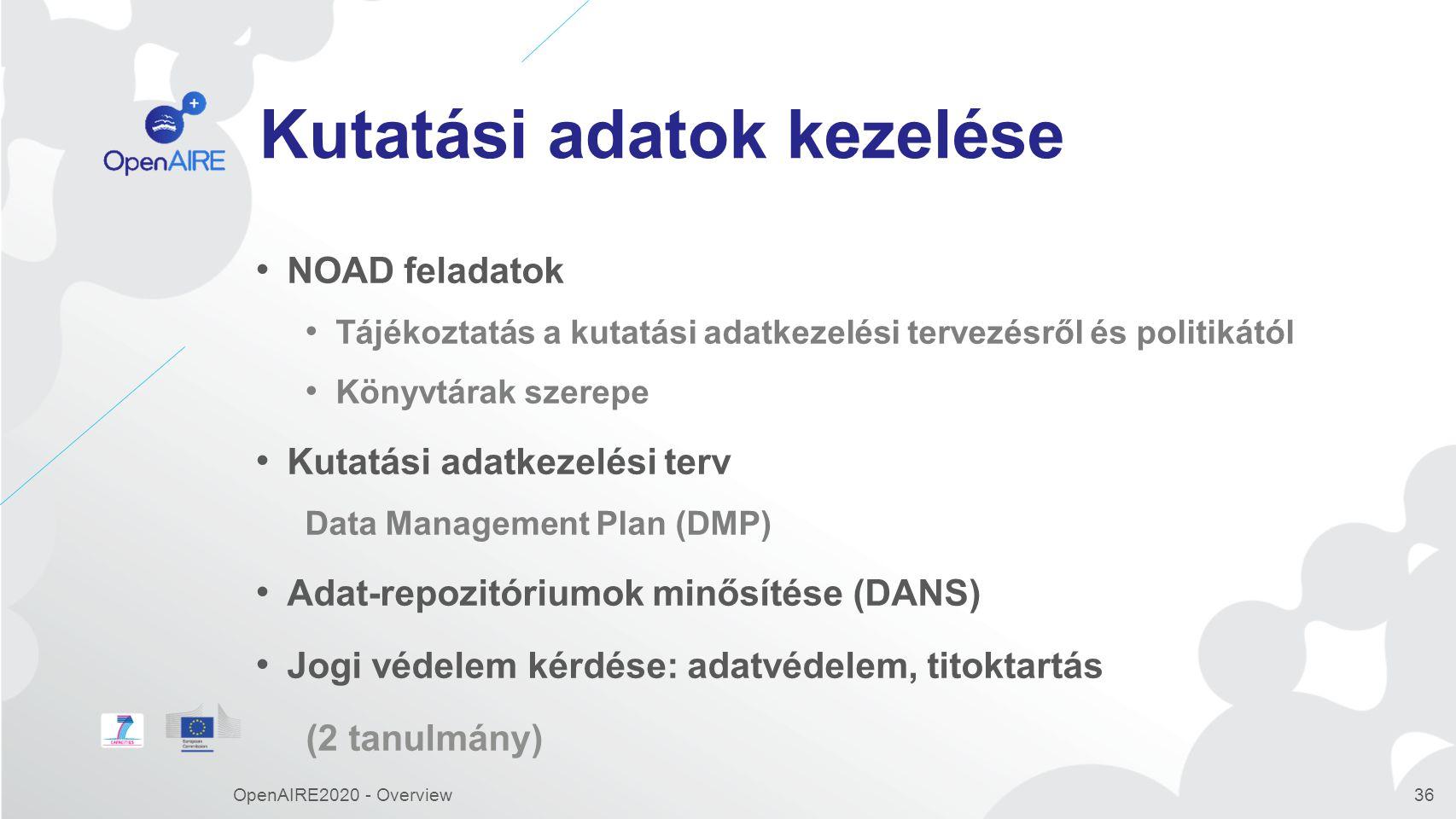 Kutatási adatok kezelése NOAD feladatok Tájékoztatás a kutatási adatkezelési tervezésről és politikától Könyvtárak szerepe Kutatási adatkezelési terv Data Management Plan (DMP) Adat-repozitóriumok minősítése (DANS) Jogi védelem kérdése: adatvédelem, titoktartás (2 tanulmány) OpenAIRE2020 - Overview36