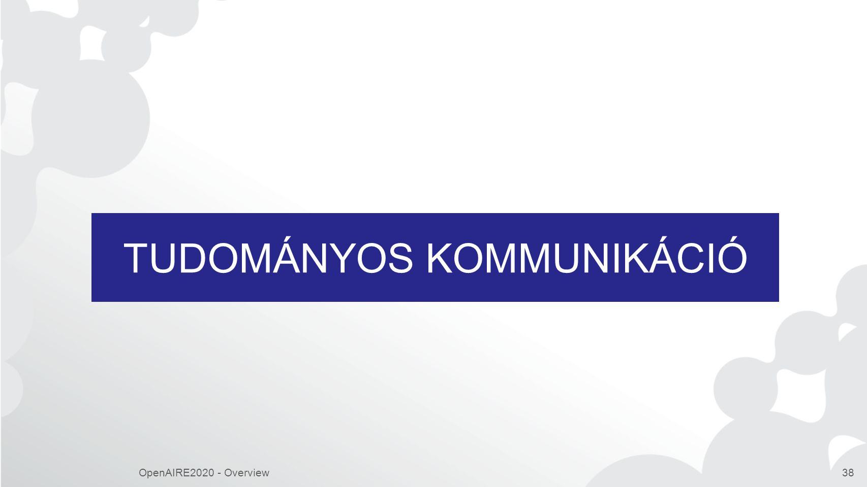 TUDOMÁNYOS KOMMUNIKÁCIÓ OpenAIRE2020 - Overview38