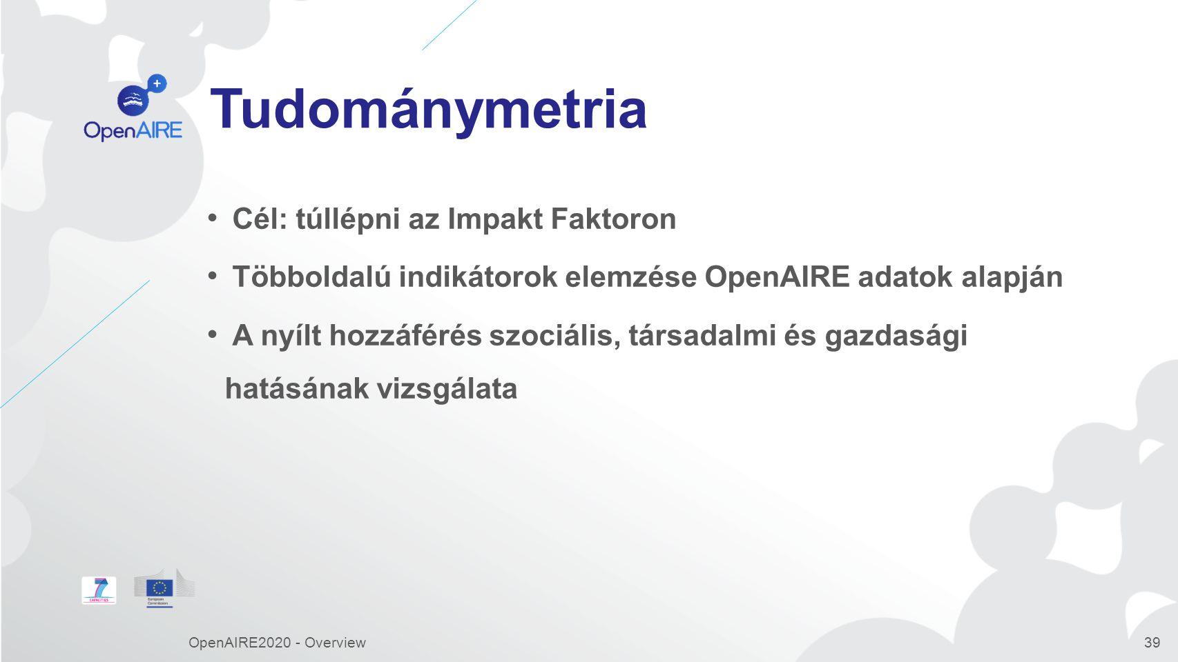 Tudománymetria Cél: túllépni az Impakt Faktoron Többoldalú indikátorok elemzése OpenAIRE adatok alapján A nyílt hozzáférés szociális, társadalmi és gazdasági hatásának vizsgálata OpenAIRE2020 - Overview39