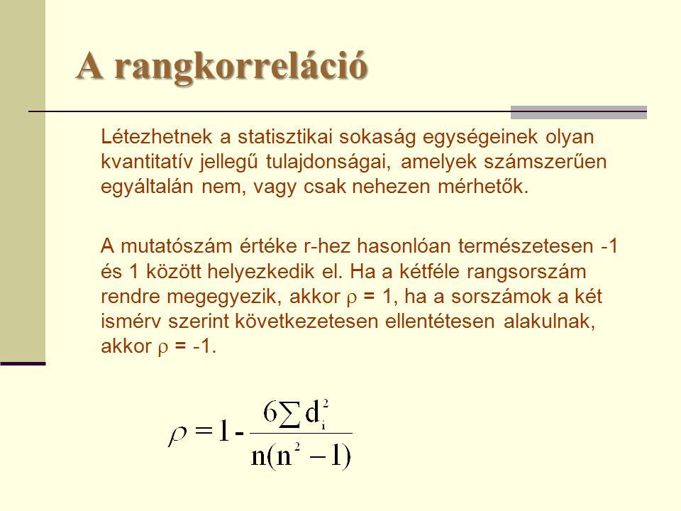 A rangkorreláció Létezhetnek a statisztikai sokaság egységeinek olyan kvantitatív jellegű tulajdonságai, amelyek számszerűen egyáltalán nem, vagy csak nehezen mérhetők.