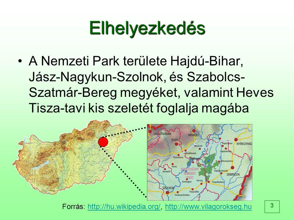 3 Elhelyezkedés A Nemzeti Park területe Hajdú-Bihar, Jász-Nagykun-Szolnok, és Szabolcs- Szatmár-Bereg megyéket, valamint Heves Tisza-tavi kis szeletét