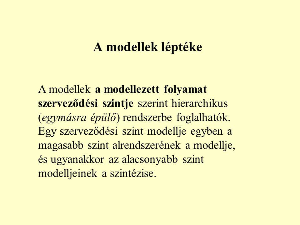 A modellek a modellezett folyamat szerveződési szintje szerint hierarchikus (egymásra épülő) rendszerbe foglalhatók.