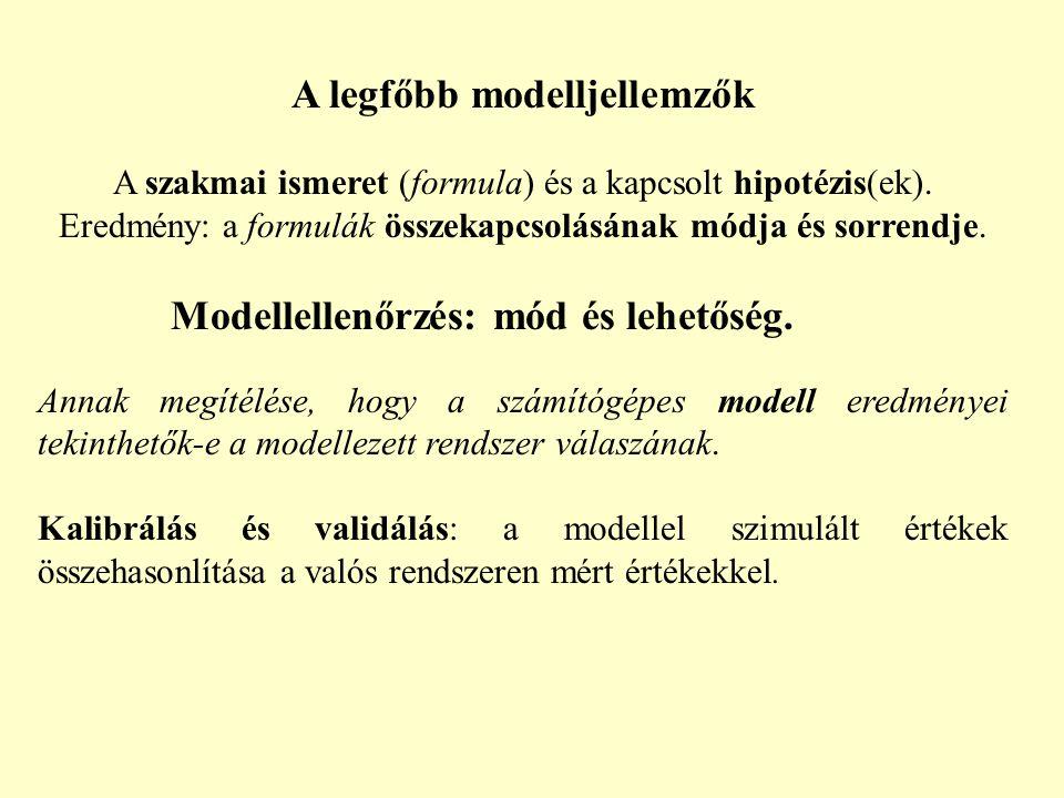 A legfőbb modelljellemzők A szakmai ismeret (formula) és a kapcsolt hipotézis(ek). Eredmény: a formulák összekapcsolásának módja és sorrendje. Modelle