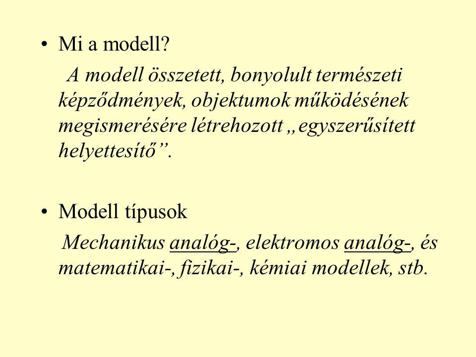 """Mi a modell? A modell összetett, bonyolult természeti képződmények, objektumok működésének megismerésére létrehozott """"egyszerűsített helyettesítő"""". Mo"""