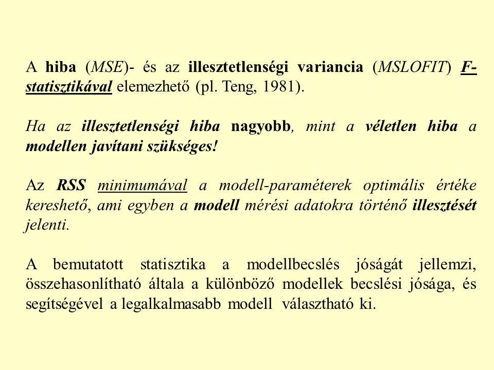 A hiba (MSE)- és az illesztetlenségi variancia (MSLOFIT) F- statisztikával elemezhető (pl. Teng, 1981). Ha az illesztetlenségi hiba nagyobb, mint a vé