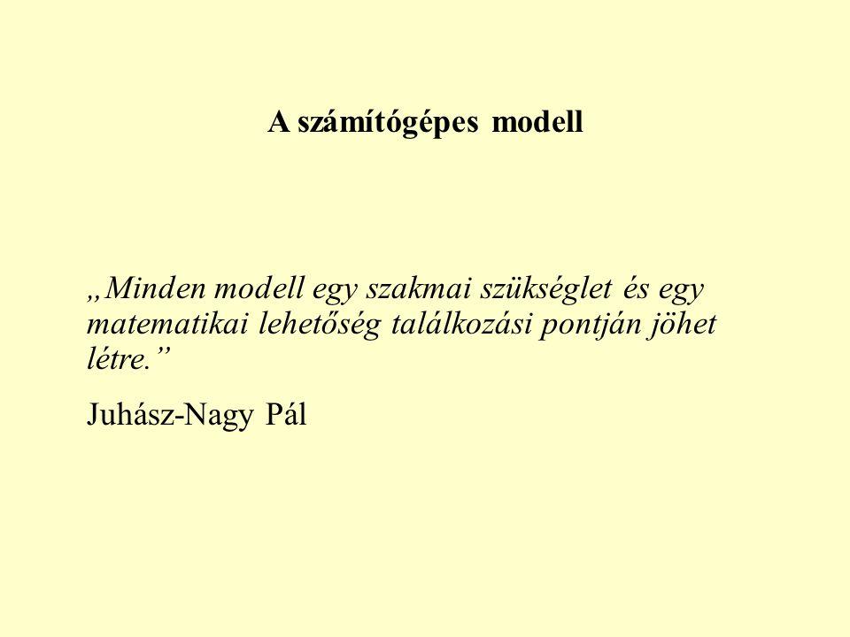 """A számítógépes modell """"Minden modell egy szakmai szükséglet és egy matematikai lehetőség találkozási pontján jöhet létre. Juhász-Nagy Pál"""