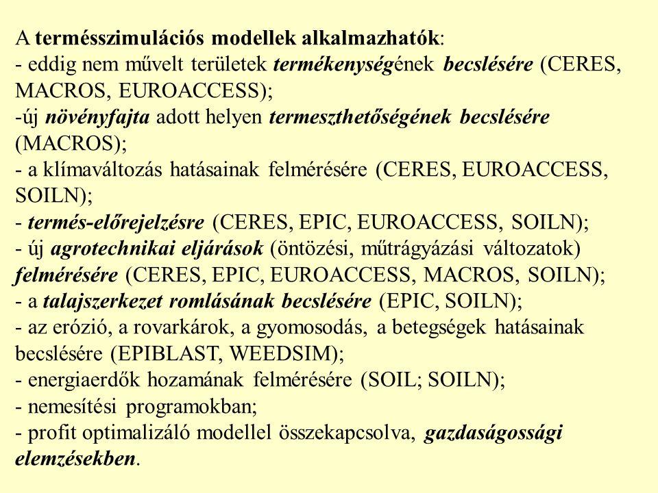 A termésszimulációs modellek alkalmazhatók: - eddig nem művelt területek termékenységének becslésére (CERES, MACROS, EUROACCESS); -új növényfajta adott helyen termeszthetőségének becslésére (MACROS); - a klímaváltozás hatásainak felmérésére (CERES, EUROACCESS, SOILN); - termés-előrejelzésre (CERES, EPIC, EUROACCESS, SOILN); - új agrotechnikai eljárások (öntözési, műtrágyázási változatok) felmérésére (CERES, EPIC, EUROACCESS, MACROS, SOILN); - a talajszerkezet romlásának becslésére (EPIC, SOILN); - az erózió, a rovarkárok, a gyomosodás, a betegségek hatásainak becslésére (EPIBLAST, WEEDSIM); - energiaerdők hozamának felmérésére (SOIL; SOILN); - nemesítési programokban; - profit optimalizáló modellel összekapcsolva, gazdaságossági elemzésekben.