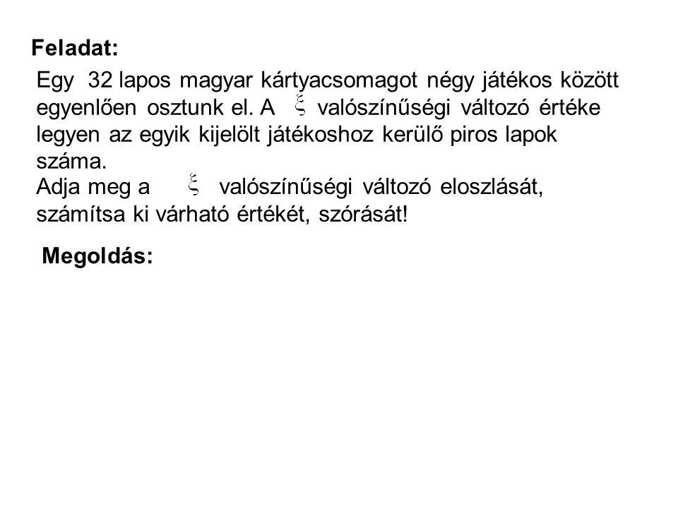 Feladat: Egy 32 lapos magyar kártyacsomagot négy játékos között egyenlően osztunk el. A valószínűségi változó értéke legyen az egyik kijelölt játékosh