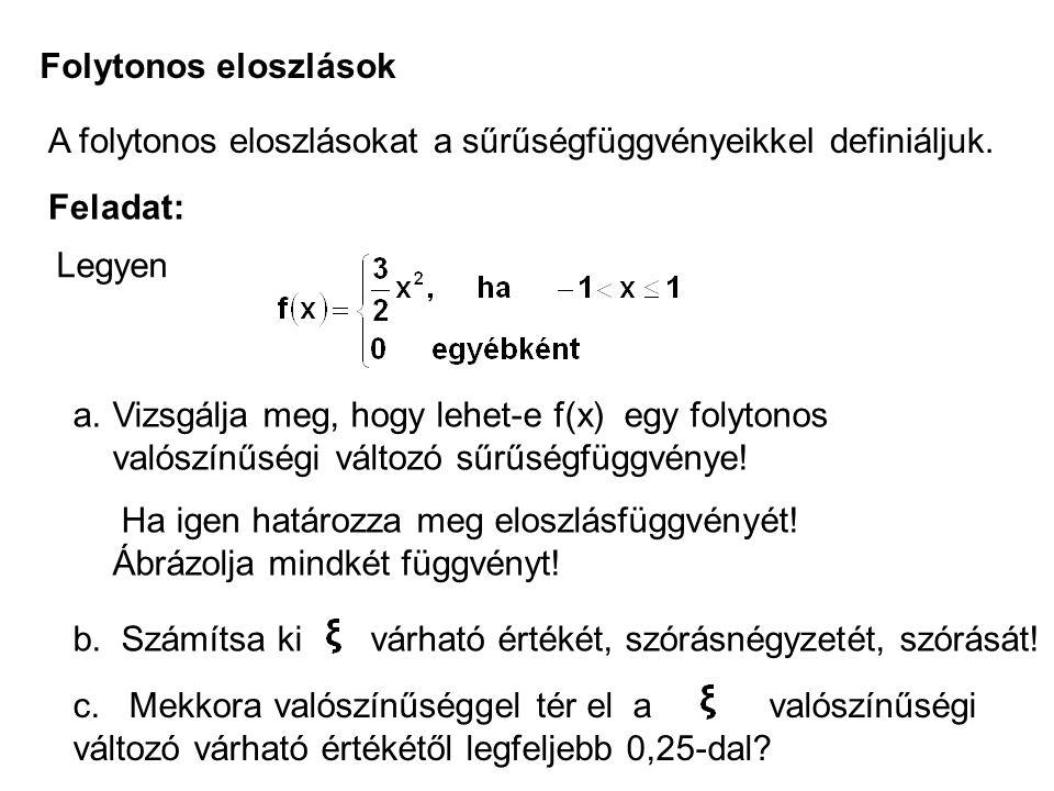 Folytonos eloszlások A folytonos eloszlásokat a sűrűségfüggvényeikkel definiáljuk. Feladat: Legyen a.Vizsgálja meg, hogy lehet-e f(x) egy folytonos va