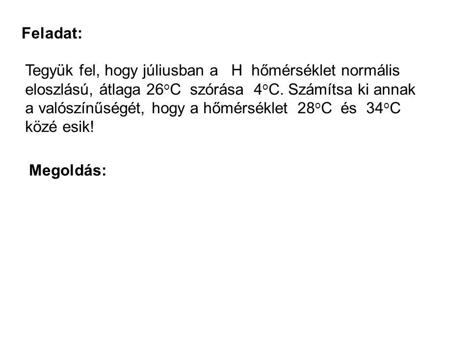 Feladat: Tegyük fel, hogy júliusban a H hőmérséklet normális eloszlású, átlaga 26 o C szórása 4 o C. Számítsa ki annak a valószínűségét, hogy a hőmérs