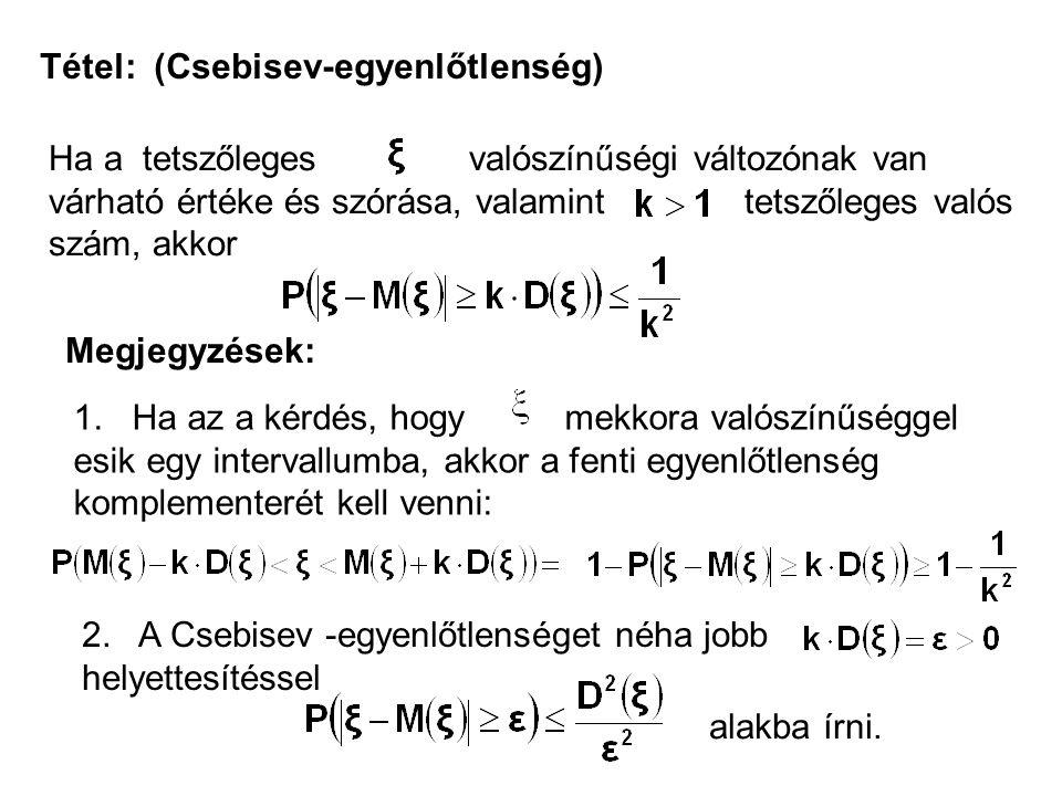 Tétel: (Csebisev-egyenlőtlenség) Ha a tetszőleges valószínűségi változónak van várható értéke és szórása, valamint tetszőleges valós szám, akkor Megje