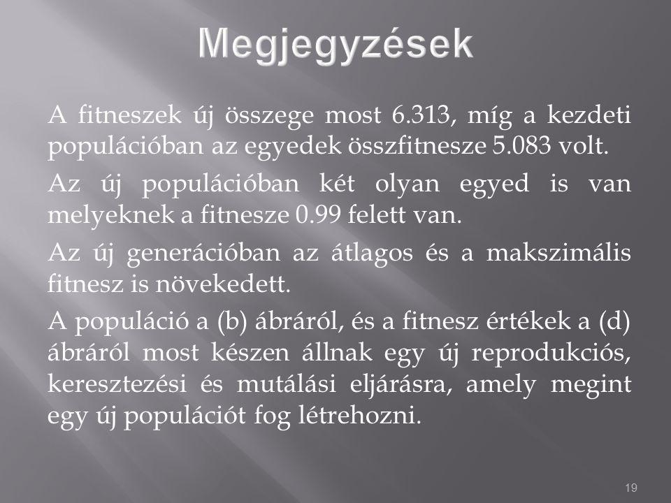 19 A fitneszek új összege most 6.313, míg a kezdeti populációban az egyedek összfitnesze 5.083 volt.