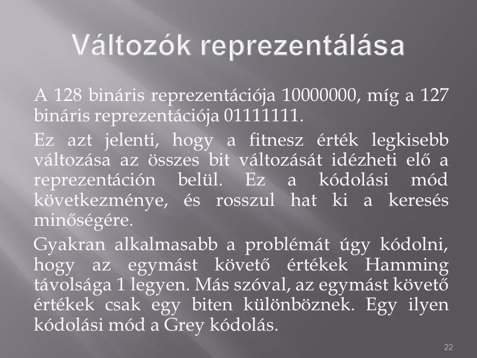 22 A 128 bináris reprezentációja 10000000, míg a 127 bináris reprezentációja 01111111.