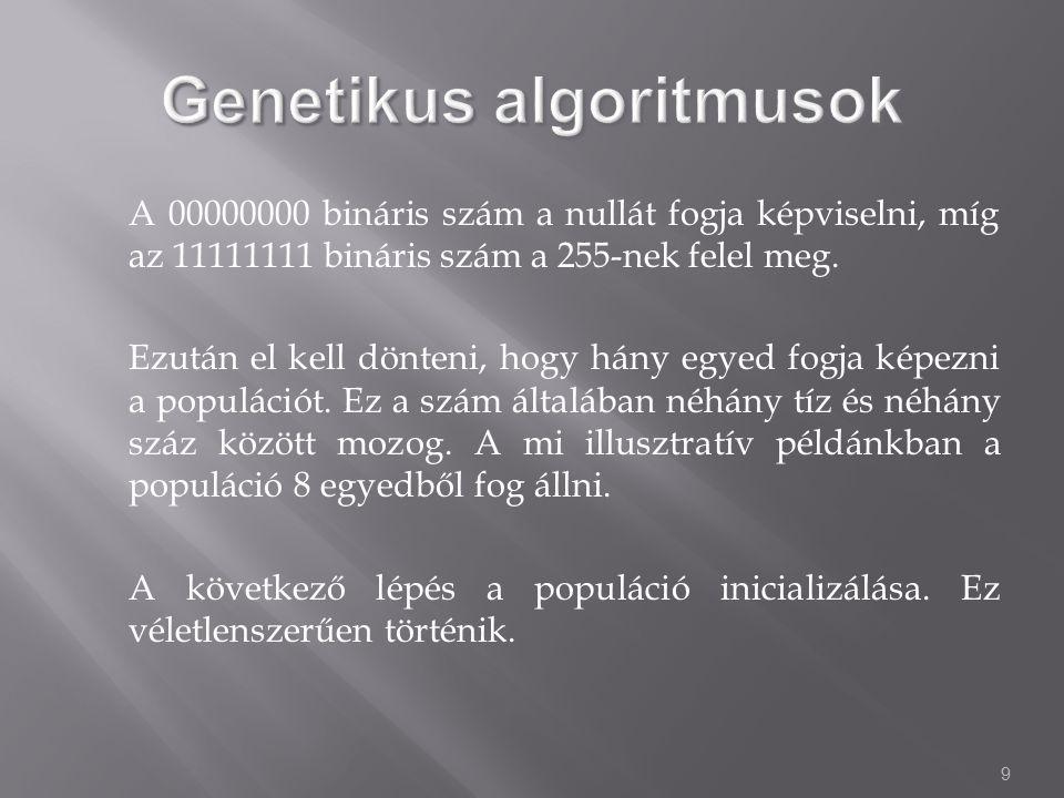 9 A 00000000 bináris szám a nullát fogja képviselni, míg az 11111111 bináris szám a 255-nek felel meg.
