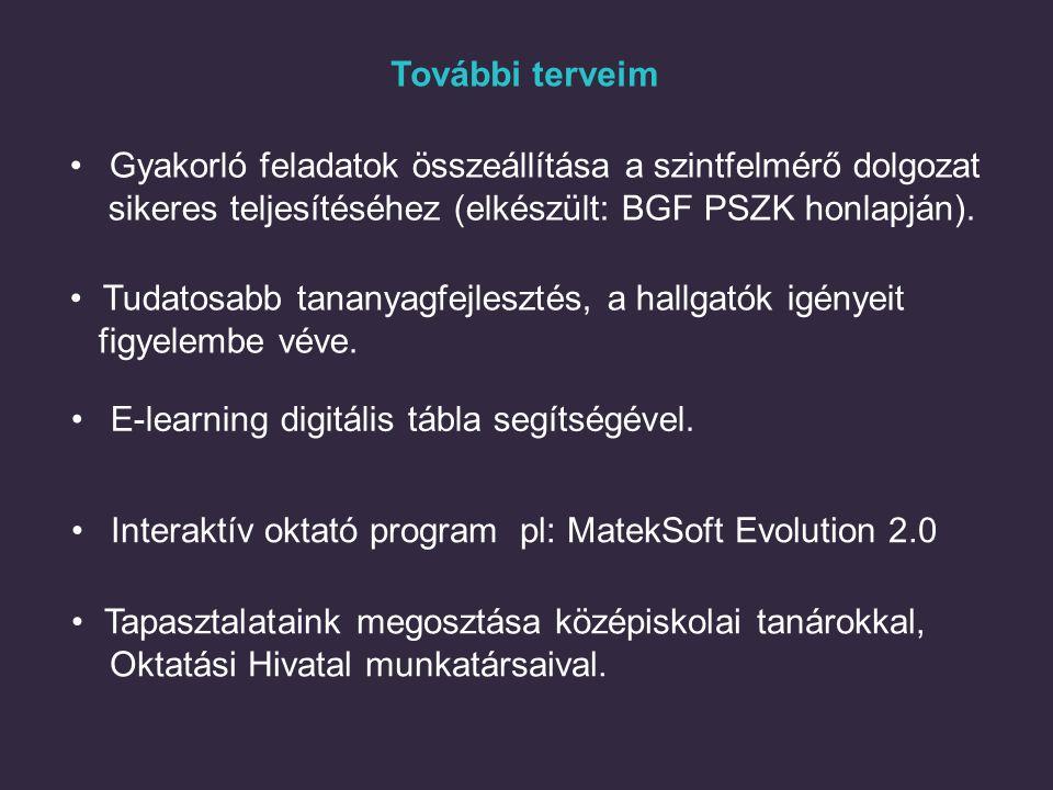 További terveim Interaktív oktató program pl: MatekSoft Evolution 2.0 Tudatosabb tananyagfejlesztés, a hallgatók igényeit figyelembe véve. E-learning