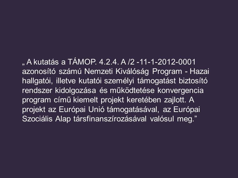 """"""" A kutatás a TÁMOP. 4.2.4. A /2 -11-1-2012-0001 azonosító számú Nemzeti Kiválóság Program - Hazai hallgatói, illetve kutatói személyi támogatást bizt"""