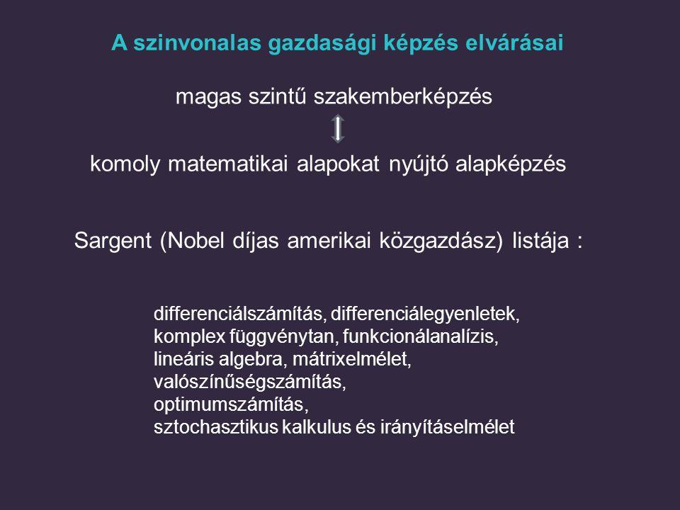 A szinvonalas gazdasági képzés elvárásai magas szintű szakemberképzés Sargent (Nobel díjas amerikai közgazdász) listája : differenciálszámítás, differ