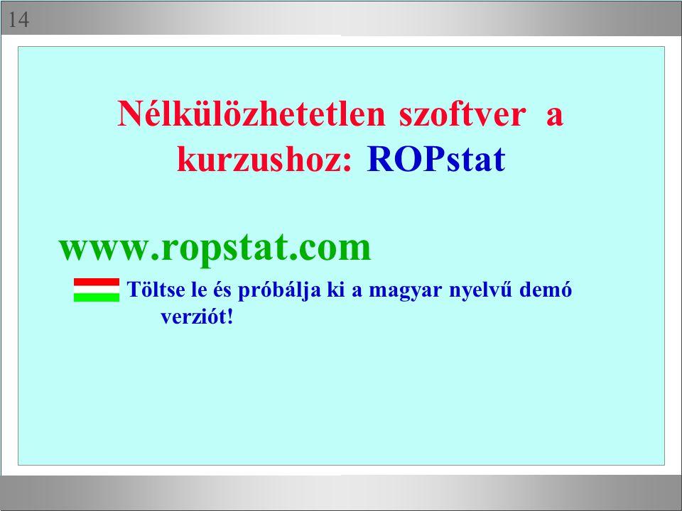14 Nélkülözhetetlen szoftver a kurzushoz: ROPstat www.ropstat.com Töltse le és próbálja ki a magyar nyelvű demó verziót!
