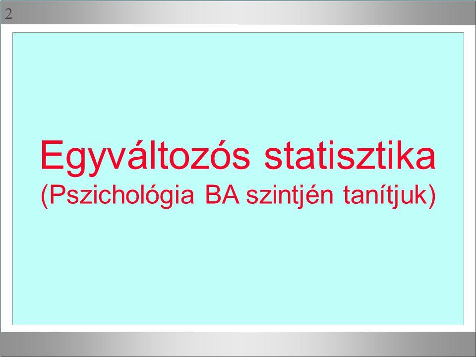 2 Egyváltozós statisztika (Pszichológia BA szintjén tanítjuk)