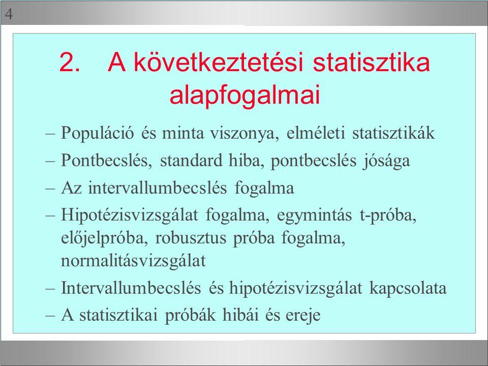 4 2.A következtetési statisztika alapfogalmai –Populáció és minta viszonya, elméleti statisztikák –Pontbecslés, standard hiba, pontbecslés jósága –Az intervallumbecslés fogalma –Hipotézisvizsgálat fogalma, egymintás t-próba, előjelpróba, robusztus próba fogalma, normalitásvizsgálat –Intervallumbecslés és hipotézisvizsgálat kapcsolata –A statisztikai próbák hibái és ereje