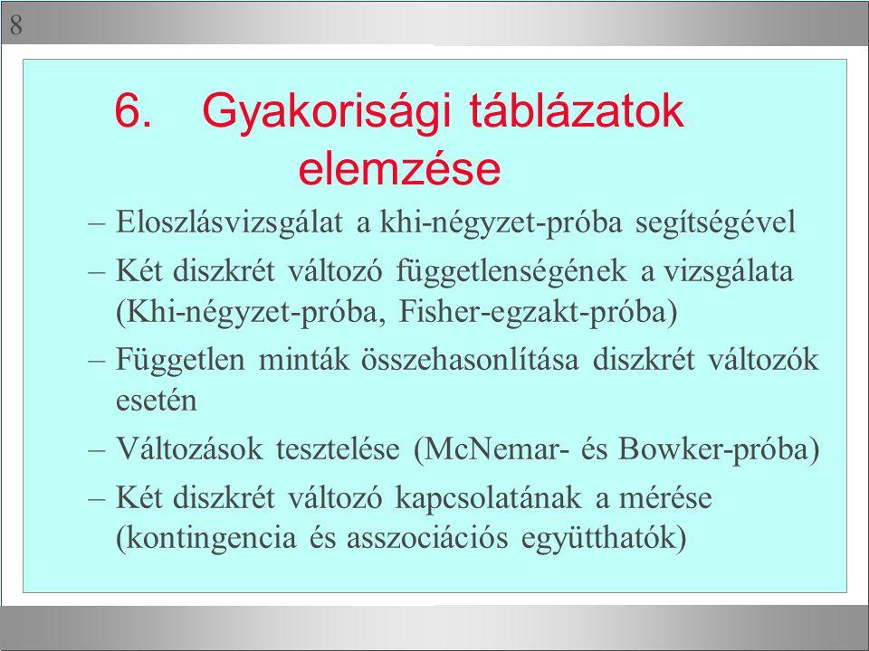 8 6.Gyakorisági táblázatok elemzése –Eloszlásvizsgálat a khi-négyzet-próba segítségével –Két diszkrét változó függetlenségének a vizsgálata (Khi-négyzet-próba, Fisher-egzakt-próba) –Független minták összehasonlítása diszkrét változók esetén –Változások tesztelése (McNemar- és Bowker-próba) –Két diszkrét változó kapcsolatának a mérése (kontingencia és asszociációs együtthatók)