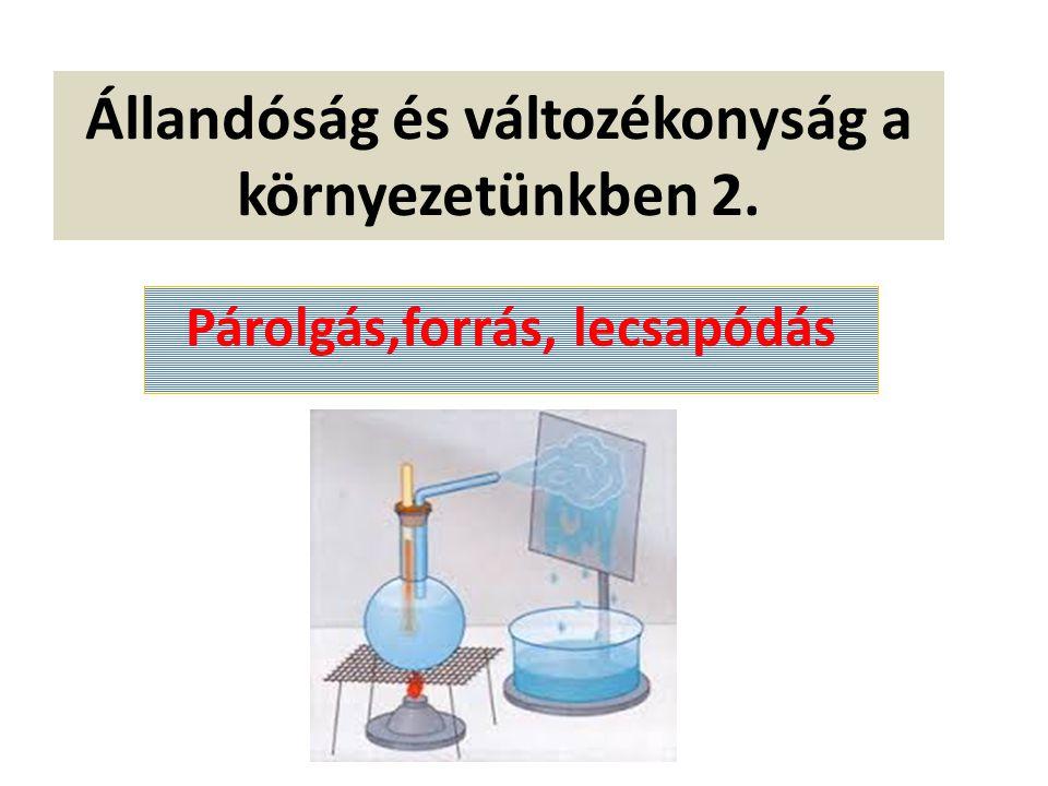 Párolgás Olyan halmazállapot-változás, mely során a folyékony halmazállapotú anyag légneművé válik A párolgó anyagnak csökken a hőmérséklete Ha a párolgás gyors, nem csak a folyadéknak, hanem a környezetének is csökken a hőmérséklete ( Az izzadság elpárolgása hűti a testünket, a kutyák nem izzadnak, lihegéssel hűtik magukat)