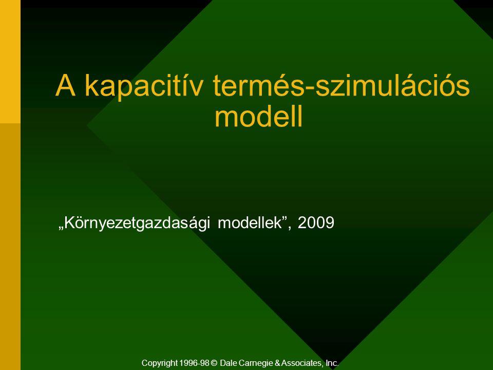 """A kapacitív termés-szimulációs modell """"Környezetgazdasági modellek"""", 2009 Copyright 1996-98 © Dale Carnegie & Associates, Inc."""