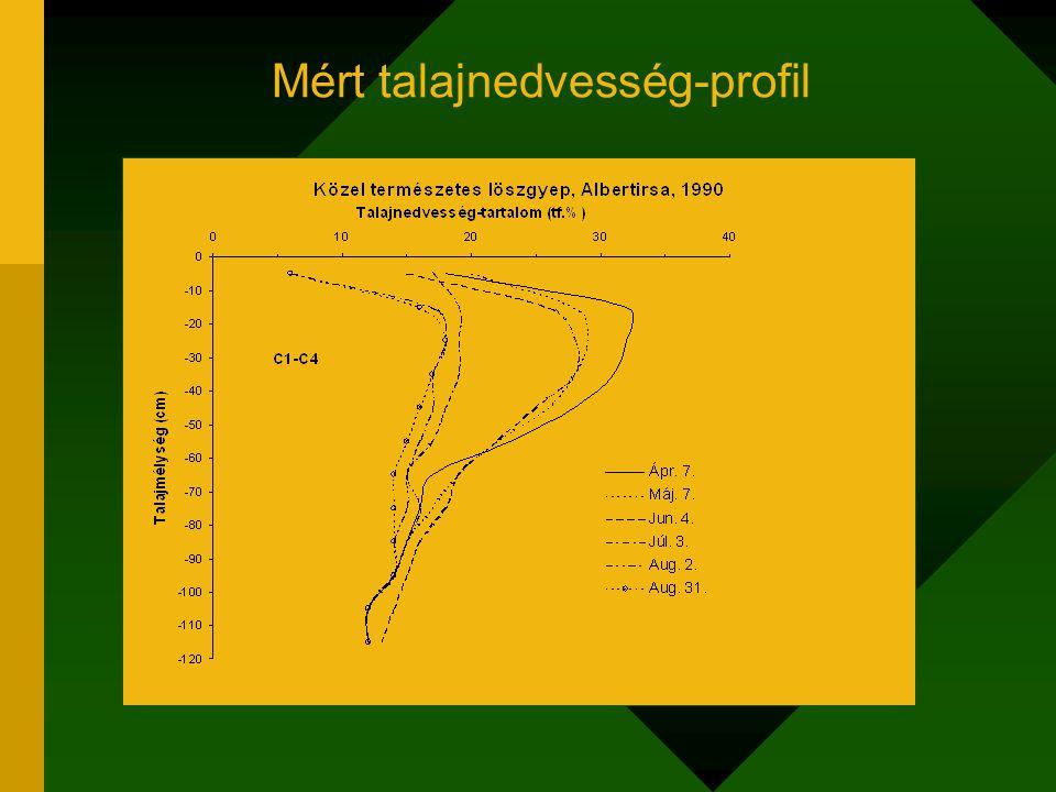 Mért talajnedvesség-profil