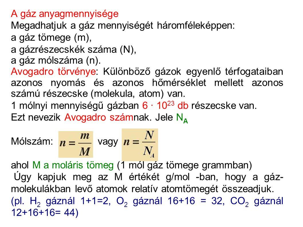 A gáz anyagmennyisége Megadhatjuk a gáz mennyiségét háromféleképpen: a gáz tömege (m), a gázrészecskék száma (N), a gáz mólszáma (n).