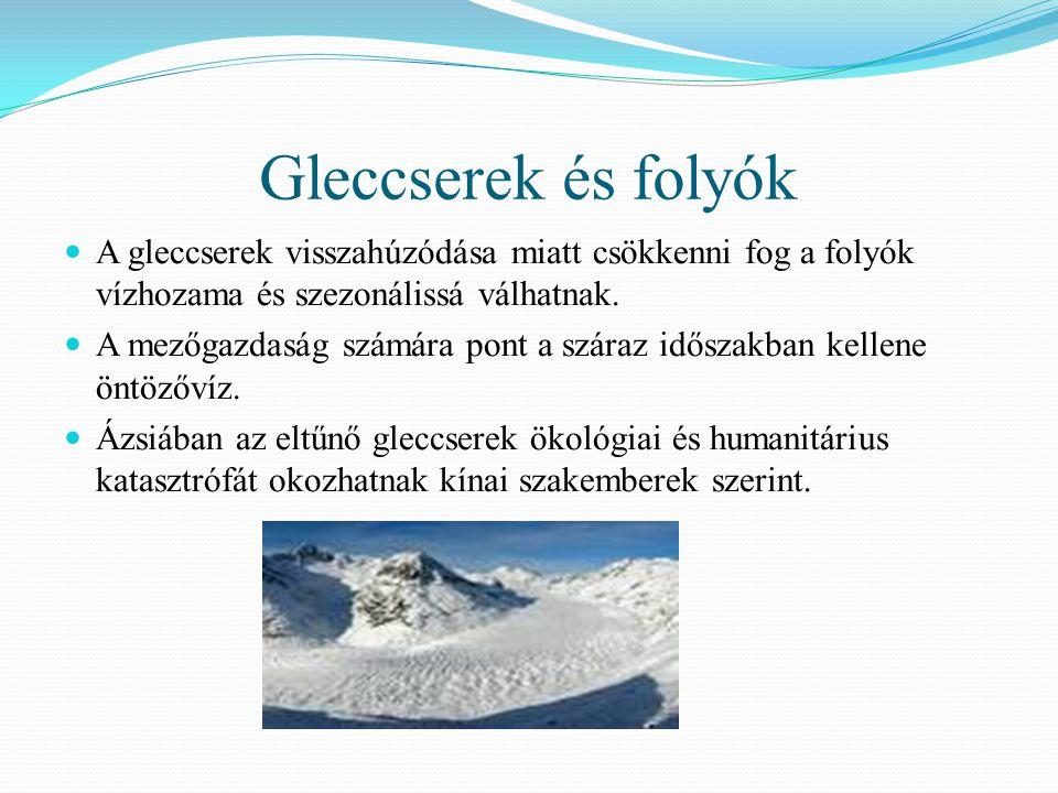 Gleccserek és folyók A gleccserek visszahúzódása miatt csökkenni fog a folyók vízhozama és szezonálissá válhatnak. A mezőgazdaság számára pont a szára