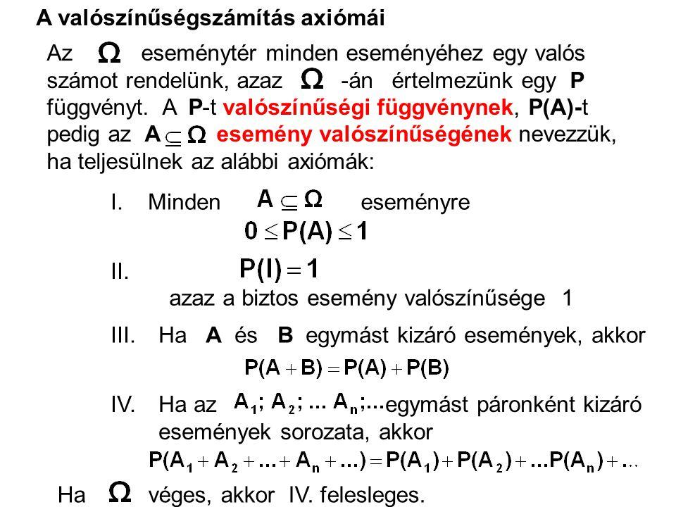 Tétel:P =0 Tétel: Ha az események páronként kizárják egymást, akkor Tétel: Ha,akkor Ha A és B két tetszőleges esemény, akkor