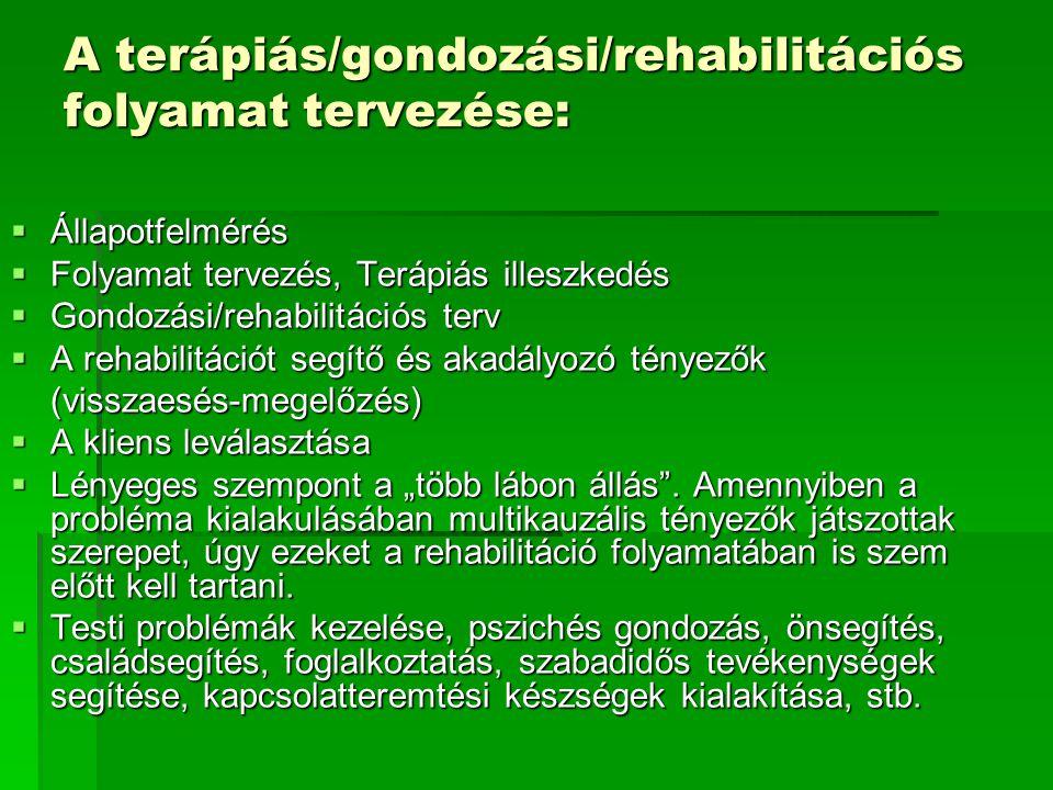 A terápiás/gondozási/rehabilitációs folyamat tervezése:  Állapotfelmérés  Folyamat tervezés, Terápiás illeszkedés  Gondozási/rehabilitációs terv 