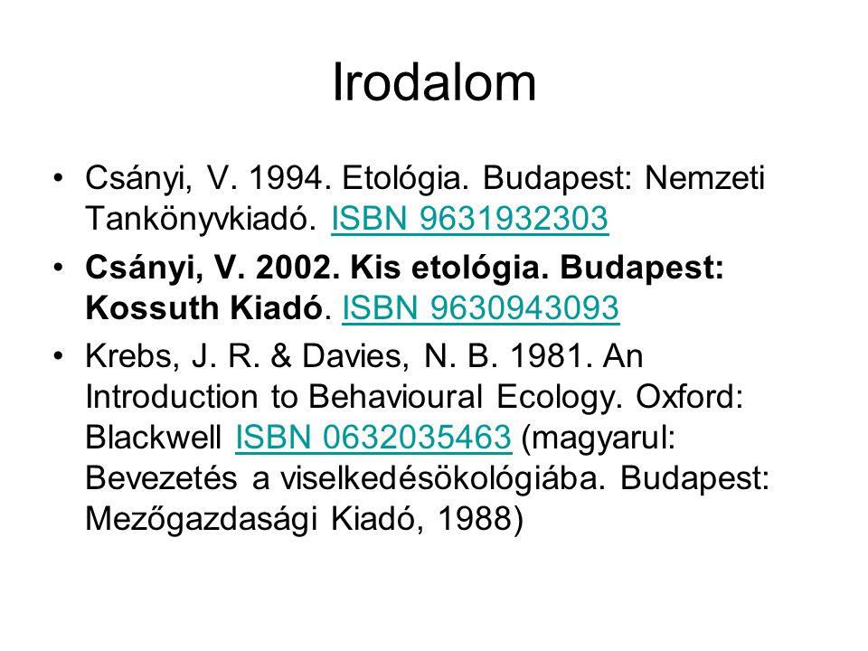 Irodalom Csányi, V. 1994. Etológia. Budapest: Nemzeti Tankönyvkiadó. ISBN 9631932303ISBN 9631932303 Csányi, V. 2002. Kis etológia. Budapest: Kossuth K