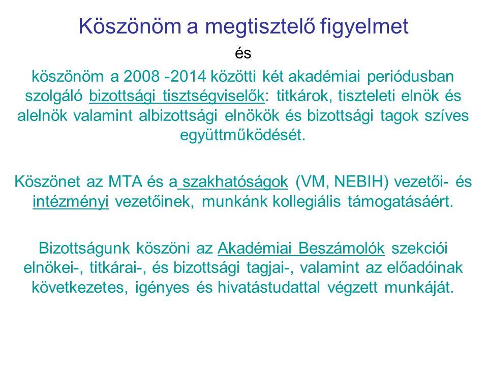 Köszönöm a megtisztelő figyelmet és köszönöm a 2008 -2014 közötti két akadémiai periódusban szolgáló bizottsági tisztségviselők: titkárok, tiszteleti